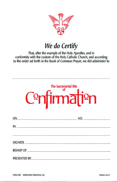 Confirmation Certificate [PACKAGE OF 25 W/ ENVELOPE]