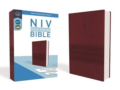 NIV, Value Thinline Bible, Imitation Leather, Burgundy