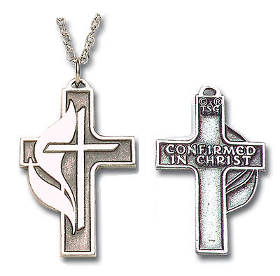 Pewter Cross and Flame Confirmation Pendant with 24 Inch Chain