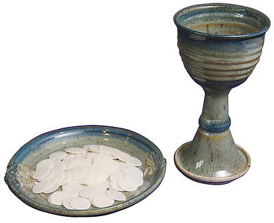 Porcelain Chalice and Paten Set with Wheat and Grape Pattern, Green