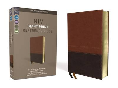 NIV, Reference Bible, Giant Print, Imitation Leather, Brown, Red Letter Edition, Comfort Print