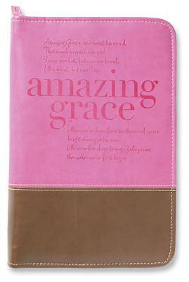 Amazing Grace Italian Duo-Tone Orchid/Chocolate Large Bible Cover