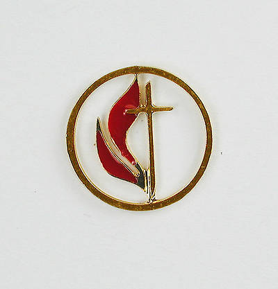 Cross and Flame Cutout Gold Lapel Pin 1/2""