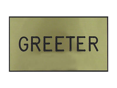 Gold and Black Greeter Clip-On Badge