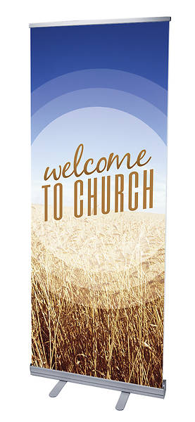 Season Welcome Wheat RollUp Banner with Stand