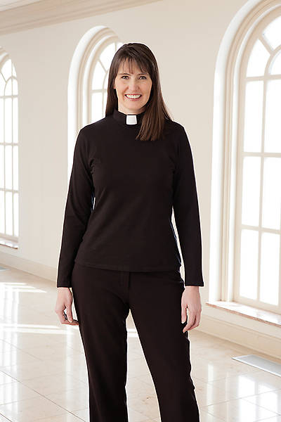 Blouse Clergy Knit Tunic Long Sleeve Tab Collar