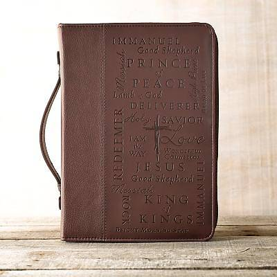 Bible Cover Name of Jesus Leather Burgundy Medium