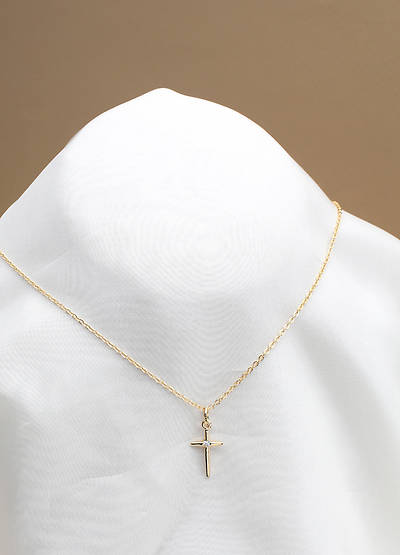 Pendant Cross with Cubic Zirconia Pewter Cable Chain 18 Inch