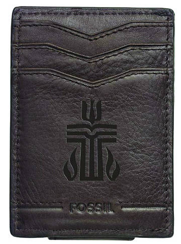 Fossil Genuine Leather Mens Front Pocket Wallet with PCUSA Logo