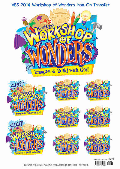 Vacation Bible School (VBS) 2014 Workshop of Wonders Iron-On Transfers