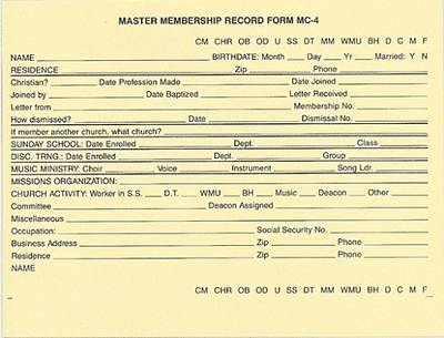 Master Membership Record MC-4 Package of 100
