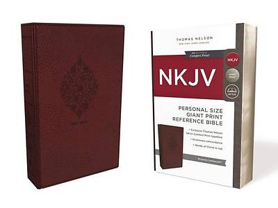 NKJV, Reference Bible, Personal Size Giant Print, Imitation Leather, Burgundy, Red Letter Edition, Comfort Print
