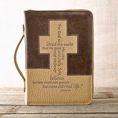 BIBLE COVER  BROWN CREAM CROSS LUXLEATHER LARGE