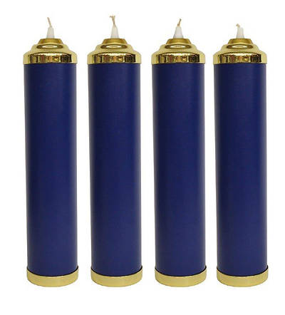 COMPLETE ADVENT TUBE CANDLE & SLEEVES - 4 BLUE
