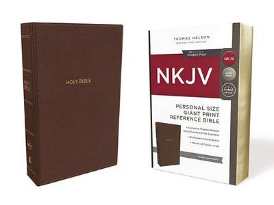 NKJV, Reference Bible, Personal Size Giant Print, Imitation Leather, Brown, Red Letter Edition, Comfort Print