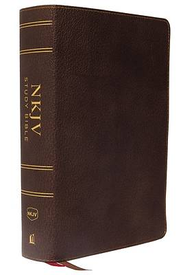 NKJV Study Bible, Premium Calfskin Leather, Brown, Full-Color, Red Letter Edition, Indexed, Comfort Print