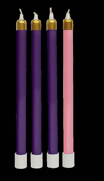 Advent Tube Candles Set of 3 Purple & 1 Rose 13 3/8