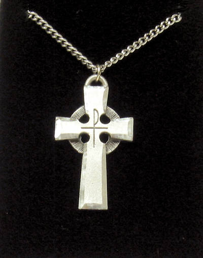 Pewter Celtic Cross with Stainless Steel Chain (#726)