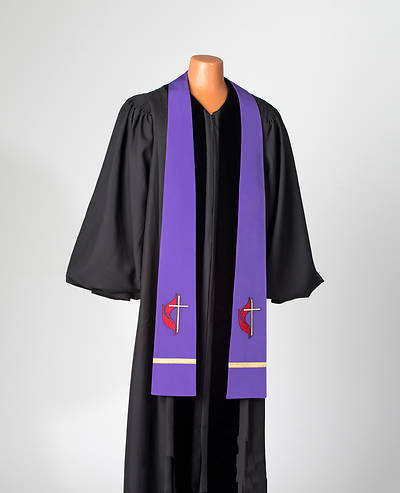 Purple United Methodist Liberty With Gold Braid Stole