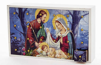 Wooden Holy Family Advent Calendar