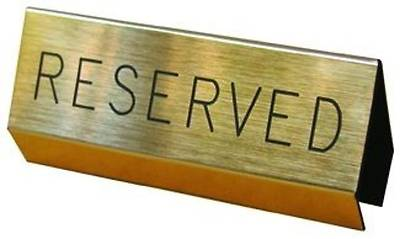 Brushed Gold Reserved Pew Sign