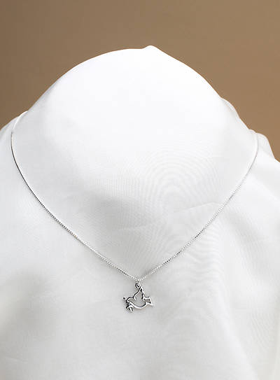 Pendant Dove Flying with Olive Branch Sterling Silver 18 Inch