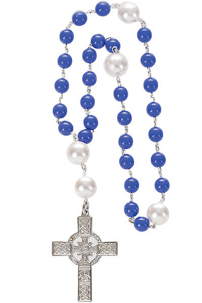 Anglican Prayer Beads with Two-sided Silver-Plated Celtic Cross