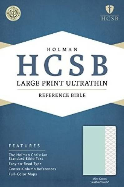 HCSB Large Print Ultrathin Reference Bible, Mint Green Leathertouch