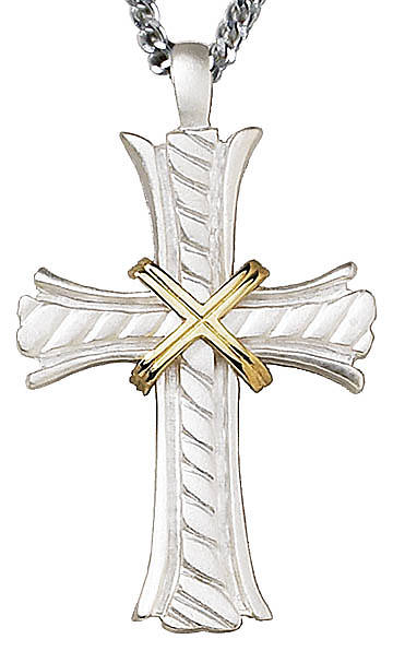 "3"" Matte Silver Plate Clergy Cross with Gold Plate Accent"