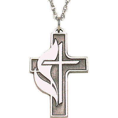 Pewter Cross and Flame Pendant