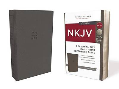 NKJV, Reference Bible, Personal Size Giant Print, Imitation Leather, Gray, Red Letter Edition, Comfort Print