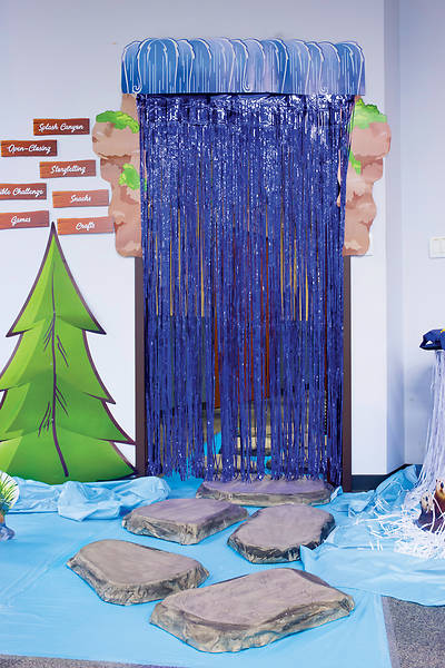 Vacation Bible School (VBS) 2018 Splash Canyon Blue Fringe Curtain - Large