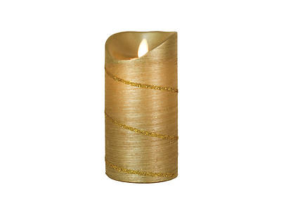 Marvelous Lights Gold Flameless Candle W/Timer 5.75