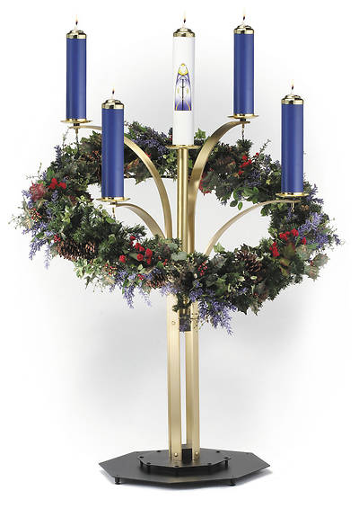CONTEMPORARY ADVENT WREATH SATIN FINISH COMPLETE SET WITH 3 PUR, 1 ROSE
