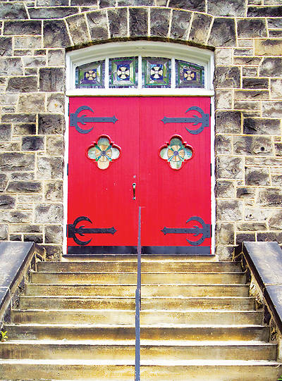Red Church Door Greeting Cards (blank inside)