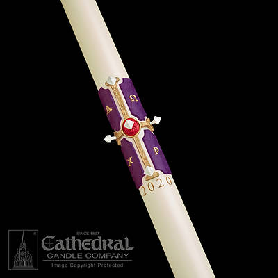 Cross of the Lamb Paschal 51% Beeswax Candle
