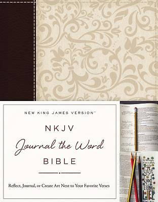 NKJV, Journal the Word Bible, Imitation Leather, Brown/Cream, Red Letter Edition