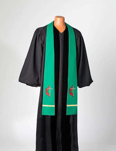 Green United Methodist Liberty With Gold Braid Stole