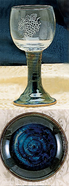 Ceramic and Glass Chalice and Paten Set