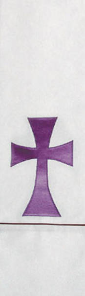 White Stole with Simple Purple Cross