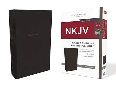 NKJV, Deluxe Thinline Reference Bible, Imitation Leather, Black, Red Letter Edition, Comfort Print