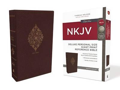 NKJV, Deluxe Reference Bible, Personal Size Giant Print, Imitation Leather, Burgundy, Indexed, Red Letter Edition, Comfort Print