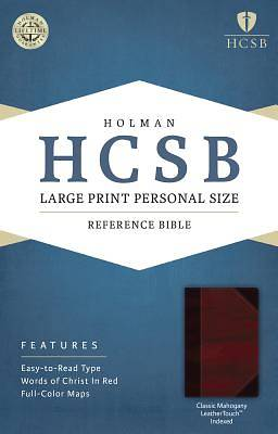HCSB Large Print Personal Size Bible, Classic Mahogany Leathertouch Indexed