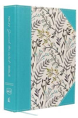 NKJV, Journal the Word Bible, Large Print, Blue Floral Cloth, Red Letter Edition