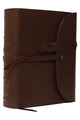 NKJV, Journal the Word Bible, Large Print, Premium Leather, Brown, Red Letter Edition