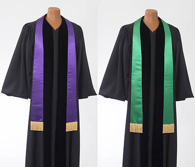 Satin Plain Reversible Purple/Green Stole