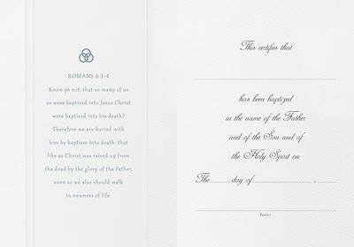 Parchment Paper Folded Baptism Certificate