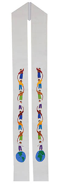 Fair Trade World Children with Ribbon White Stole
