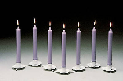 Tenebrae Service Set White Metal Holder 7 Lavender Candles