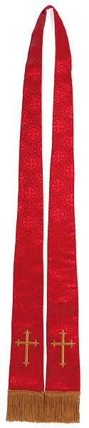 Stole Red Brocade Gold Cross Tapered Collegiate